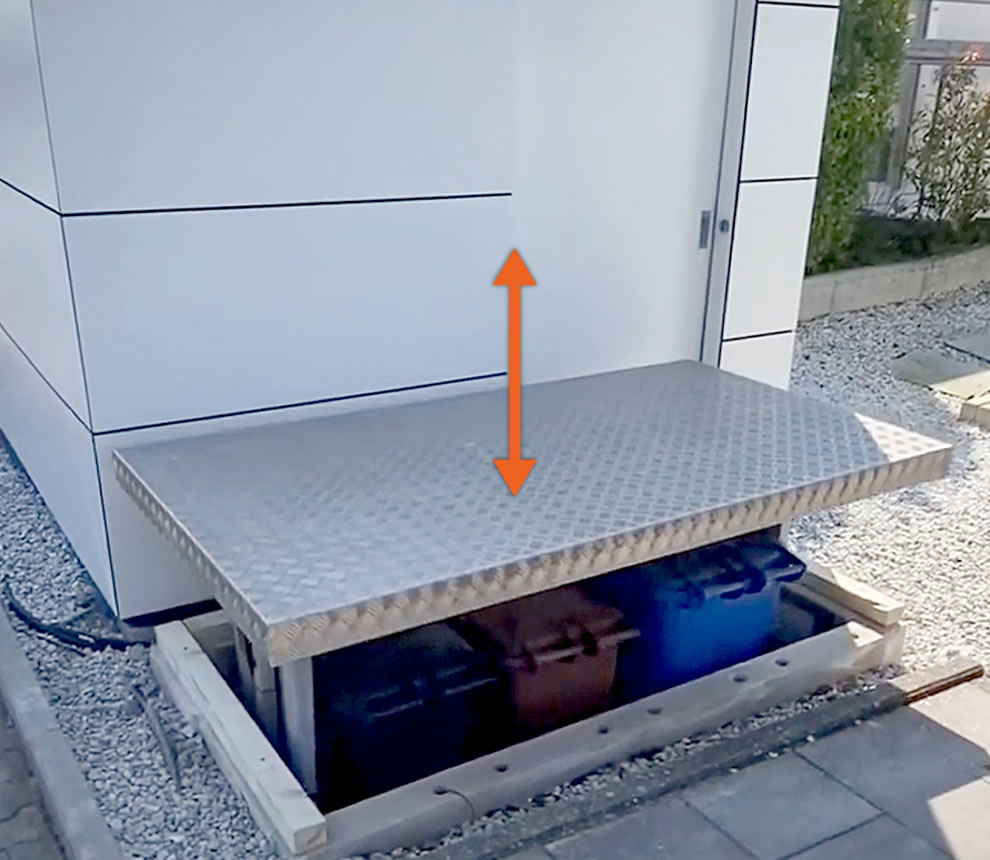 NEW: Garbage can lift system from Flatlift